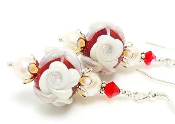 Red & White Floral Earrings, Christmas Earrings, Pearl Earrings, Lampwork Earrings, Glass Earrings, Glass Bead Earrings, Beadwork Earrings