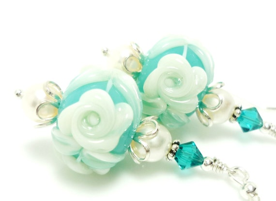 Floral Lampwork Earrings, Cameo Rose Pearl Earrings, Glass Earrings, Glass Bead Earrings, Beadwork Earrings, Teal Blue Earrings