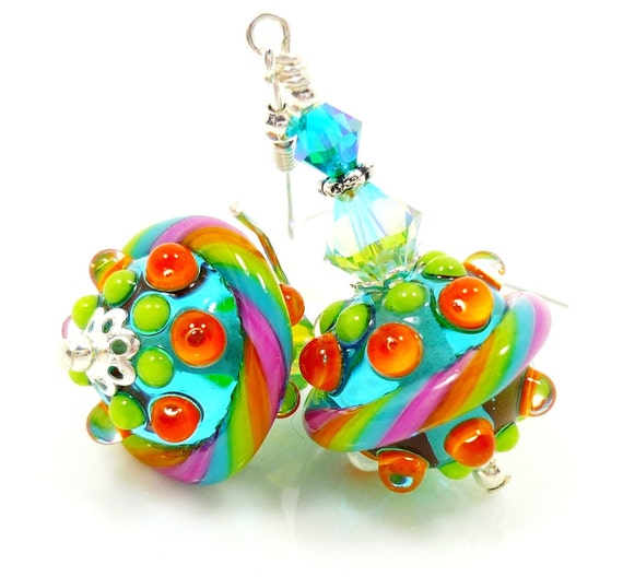 Teal Lampwork Earrings, Teal Glass Earrings, Teal Lime Lampwork Earrings, Lampwork Sterling Earrings