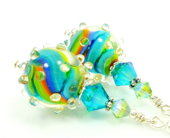Lampwork Earrings, Glass Earrings, Teal Blue Aqua Orange Lime Earrings, Glass Bead Earrings, Beadwork Earrings