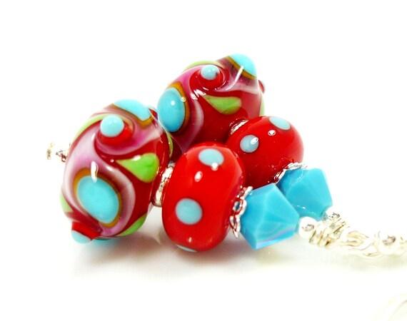 Lampwork Earrings, Glass Bead Earrings, Turquoise Blue Red Glass Earrings, Lampwork Sterling Earrings, Southwestern Earrings