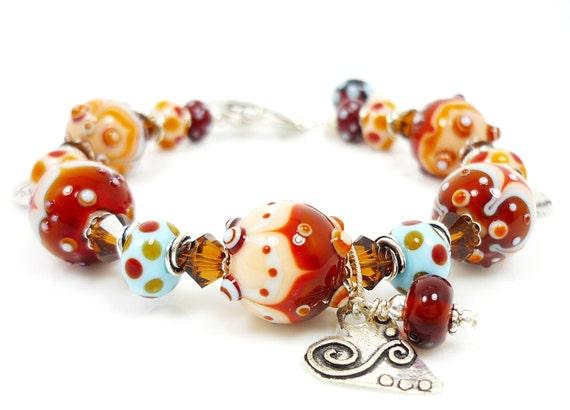 Lampwork Bracelet, Glass Bracelet, Colorful Lampwork Bracelet, Ivory Amber Turquoise Bracelet, Glass Bead Bracelet, Beaded Bracelet