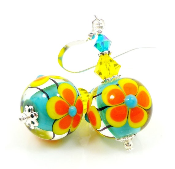 Floral Lampwork Earrings, Glass Flower Earrings, Glass Bead Earrings, Blue Yellow Orange Earrings