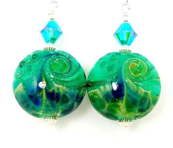 Teal Earrings, Lampwork Earrings, Glass Earrings, Teal Blue Earrings, Glass Bead Earrings, Beaded Earrings