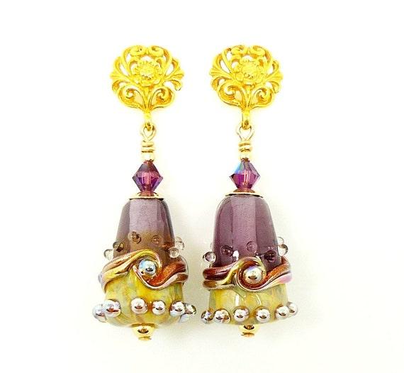 Purple Earrings, Lampwork Earrings, Glass Earrings, 14K Gold Filled Earrings, Glass Bead Earrings, Drop Earrings, Dangle Earrings