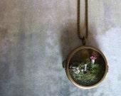 Moss Terrarium Woodland Mushroom Locket Necklace.. Toadstool Wonderland..Miniature Jewelry