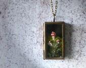 Miniature Terrarium Moss Mushroom Necklace. The Tragic Tale of the Three Mushie Mushrooms. Terrarium Jewelry