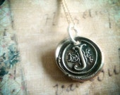 Wax Seal Initial Monogram Letter Necklace. Fine Silver PMC . Custom Pendant Wax Seal Silver. Personalized Jewelry