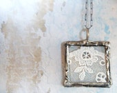 Antique French Lace Necklace. Handmade Soldered Glass Pendant. Sterling Silver Chain