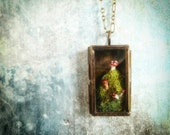 Mushroom Miniature Terrarium Necklace.  A tiny locket oasis for overworked woodland fairies and elves