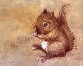 Winston the Little Baby Squirrel Guy. Art Print from My Original Drawing. Woodland. Nursery Art