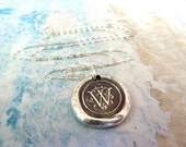 Silver Monogram Initial Wax Seal Necklace. Any Letter Made to Order. Wax Seal Fine Silver Stamped Jewelry