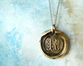 Wax Seal Monogram Initial Letter Necklace. Antiqued Bronze Pendant. Sterling Silver Chain. Artisan Jewelry