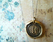 Wax Seal Initial Monogram Letter Necklace. Bronze Pendant. Antiqued Sterling Silver Chain. Artisan Jewelry