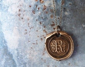 Wax Seal Monogram Initial Letter Necklace. Sterling Silver Chain. Personalized Inscribed Bronze Jewelry