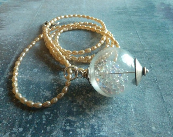 Wonder Globe Necklace White Pearls Sterling Silver Art Jewerly