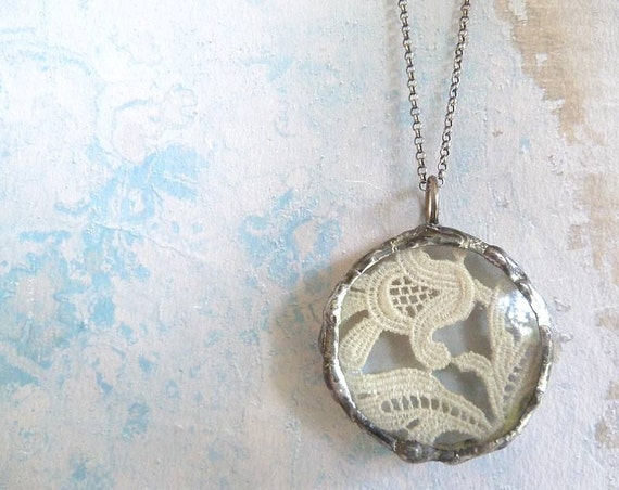 Vintage French Lace Necklace. Oxidized Sterling Silver Chain. Glass Lens Romantic Shabby Chic Jewelry