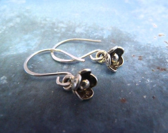 Sterling Silver Flower Earrings.  Forget me not. Woodland Botanical Jewelry