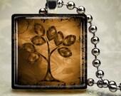 Artsy Tree Necklace - Glass Tile Pendant (STE9)