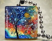 Rainbow Sunset Necklace - Glass Tile Pendant (CLME5)