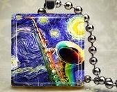 Starry Night Sax - Glass Tile Pendant (MFA5)