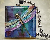 Dragonfly Blue - Glass Tile Pendant (WCNF1)