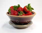 Ceramic Colander - Pottery Colander - Ceramic Berry Bowl - Pottery Berry Bowl - Maroon & Grey