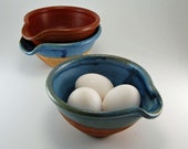 3 Egg Omelette - Ceramic  Bowl - Prep Bowl - Blue Bowl - Rustic