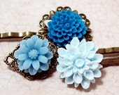 Winter Blues. Fleur Hair Pins.