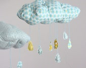 Raindrops keep falling on my head - cloud fabric mobile in baby blue, lemon yellow, and a touch of grass green