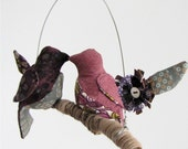 SALE Love Bird Mobile on yarn wrapped branch in plum purple, silver, and snow white.