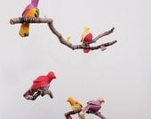 5 little birds told me - fabric mobile on yarn wrapped branches in berry pink, lemon yellow, purple, and a touch of green