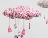 "Romantic Cloud Mobile - ""Raindrops keep falling on my head"" - in delicate white, hot pink, magenta, and a bit of chocolate brown"