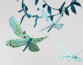 3 dragonflies dream of spring - fabric mobile in turquoise, robins egg blue, mint green, white, and a touch of golden yellow
