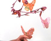 SALE Butterfly ballet - handmade fabric mobile in peach, clementine orange, sunny yellow, rose, magenta, hot pink, brown, and white