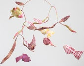 Fish Mobile - 6 Goldfish Swim Merrily Along - fabric mobile in peppermint pink, lilac, gold and a touch of green