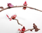 Bird Mobile - 5 little birds told me - fabric sculpture on yarn wrapped branches in cherry red, honeysuckle pink, chocolate brown, garnet