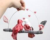 """Modern Love Bird Mobile - """"2 little lovebirds sitting in a tree K-I-S-S-I-N-G""""  in rose red, ebony black, snow white, and gray"""