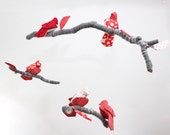 Bird Mobile - Baby Nursery Decor - fabric sculpture on yarn wrapped branches in snow white, rose red, gray, black, and coral pink - BabyJivesCo