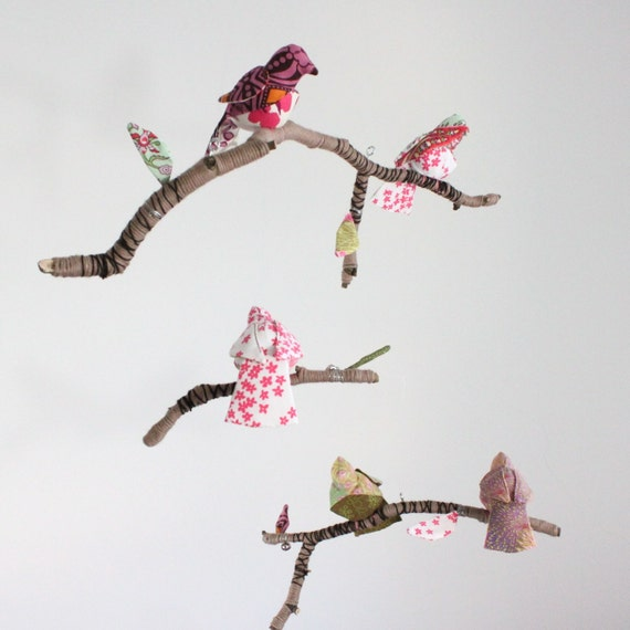 5 little bird told me - modern fabric mobile on yarn wrapped branches in soft pink, mint green, yellow and snowy white