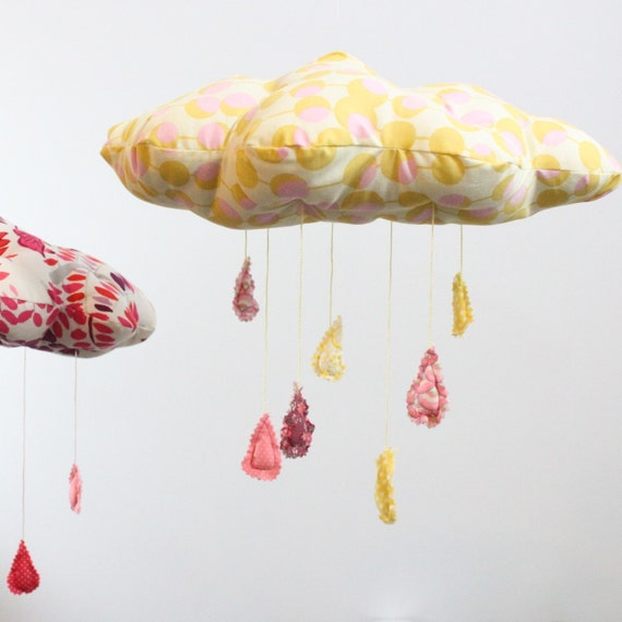 Floating on a sunny pink cloud - fabric mobile in white, honeysuckle pink, golden yellow, chocolate brown