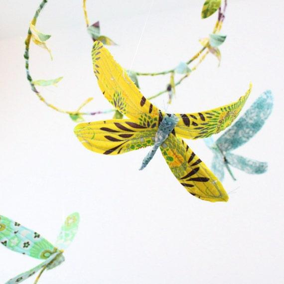 Dragonfly mobile - 3 dragonflies dream of spring in sunshine yellow, lavender purple, aquamarine, sky blue, sea foam green, white
