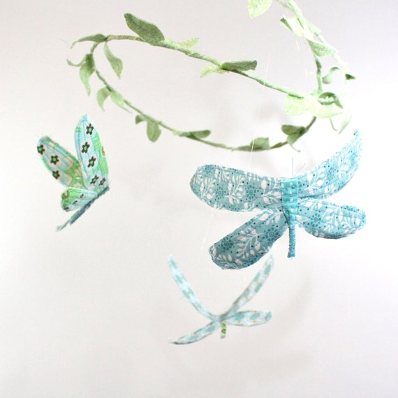 3 dragonflies dream of spring - fabric mobile in tiffany blue, aqua, mint green, white, grass green