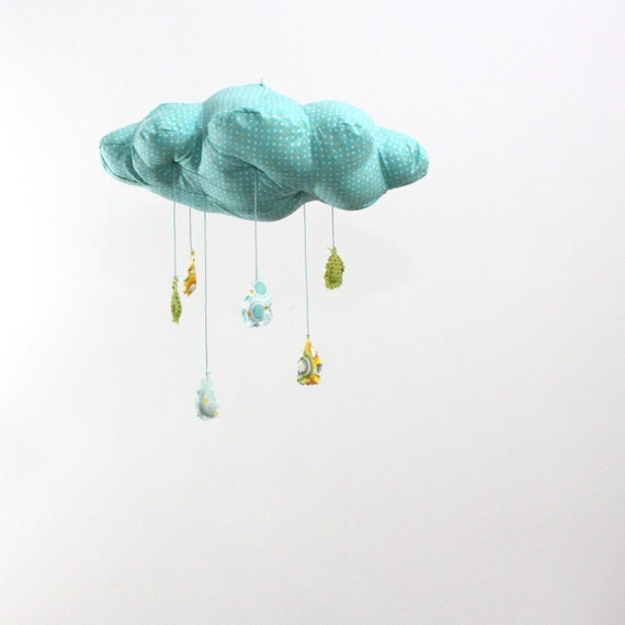 Raindrops keep falling on my head - cloud mobile in turquoise blue, yellow, teal, apple green, and white