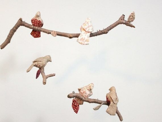 Modern Bird Mobile - 5 little birds told me - fabric sculpture on yarn wrapped branches in honeysuckle, rose, carmel, coffee brown, cream