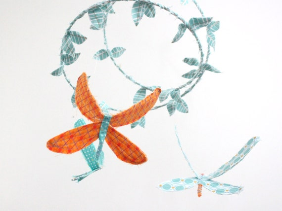 3 dragonflies dream of spring - fabric mobile in peach, orange, white, turquoise, light blue, and sky