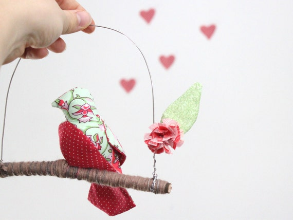 Lovebird Mobile perched for a KISS- fabric sculpture on yarn wrapped branch in blush pink, mint green, fuschia and rose red
