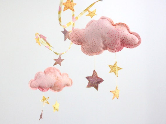 Starry Night Cloud Mobile - Nursery Decoration in peach, yellow and gold fabric