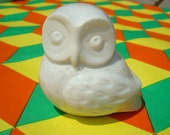 70's vintage white ceramic owl