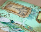 Journal with Vintage Eiffel Tower Print in Turquoise